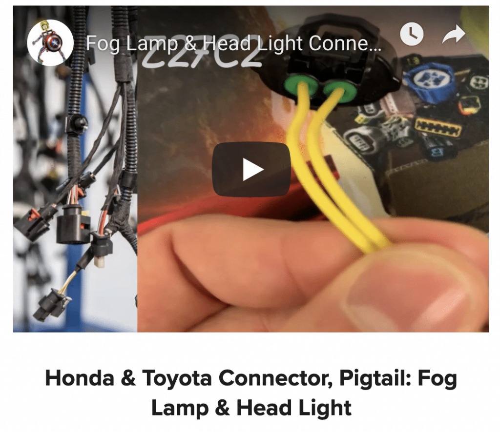 Fog lamp connector and Toyota Pigtail